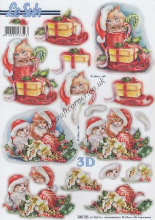 Cats At Christmas Die Cut 3d Decoupage Sheet